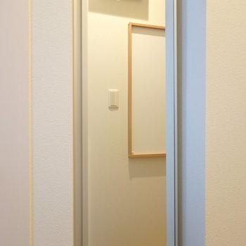 閉めると全身鏡に!お出かけ前の最終チェック。 反対側にマグネットボードが見えますね。
