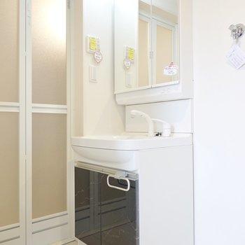大きな鏡の洗面台。朝の身支度が楽しくスムーズに。 洗濯パンはその右に。