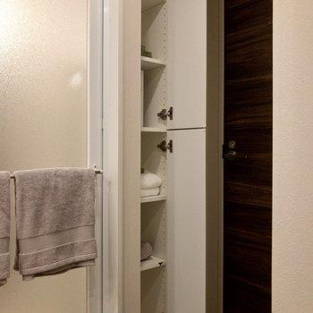 浴室の入口そばにも収納。タオル類を入れたいですね。