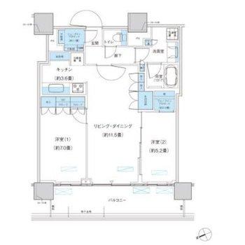 広々とした2LDKのお部屋です。洋室はリビングの両隣に。