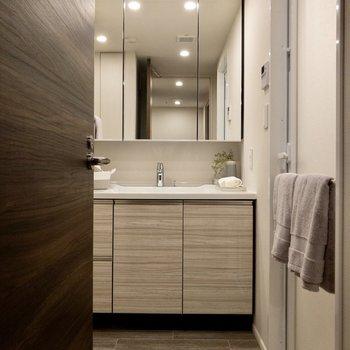 廊下を通り、脱衣所に来ました。大きな洗面台があります。