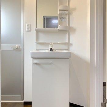 洗面台はコンパクト。ドアの持ち手にタオルを引っ掛けると良さそう。