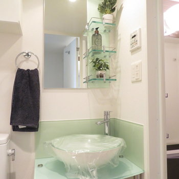 なんとも透け感のある洗面台