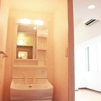 綺麗な洗面台。オープンなので突っ張り棒でカーテンをつけても◎(※写真は4階の同間取り別部屋のものです)