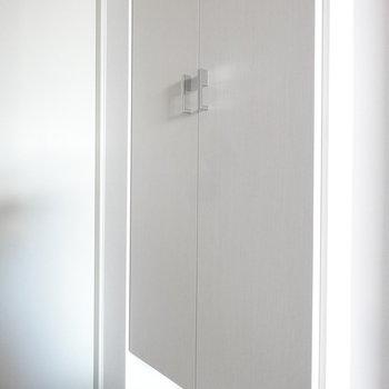 玄関にはきれいなシューズBOX。(※写真は11階の同間取り別部屋、モデルルームのものです)