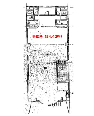 赤坂見附 54.42坪 オフィス の間取り