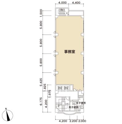 新宿 60.64坪 オフィス の間取り