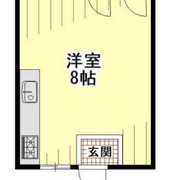 洋室を囲むように各設備が設置されています。