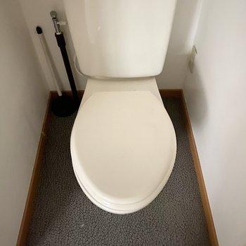 シンプルなタンクトイレ。※ 写真は通電前のものです