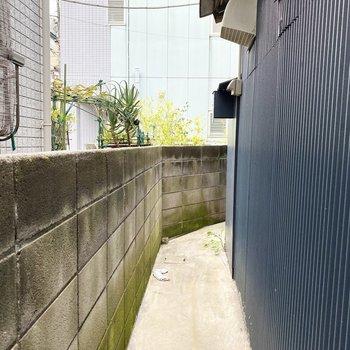 奥の玄関スペースから外に出ることもできます。