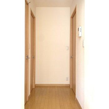左側に洋室。右側は脱衣所とお手洗いです。