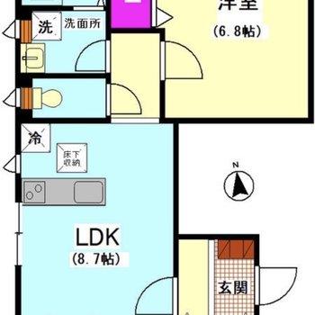 LDKは南向き!窓もたくさんありますね。
