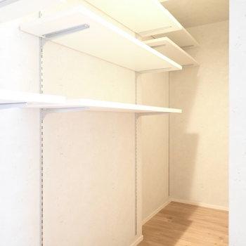 キッチン裏の収納。こちらは棚が多く、小物も整理によさそう。