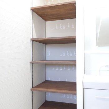 洗面台横の棚。タオルや日用品を置くのにピッタリ!