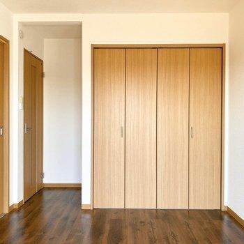 【玄関側洋室】収納はどちらの洋室にもありました。