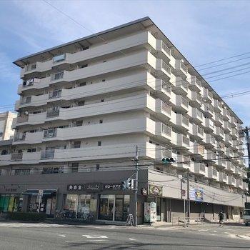 大通り沿いの一角に建つマンション。