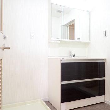 洗面台も、広い。洗濯機はとなりにあります。