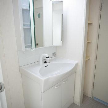 洗面台はトイレのお隣に。鏡の後ろが収納になってます。