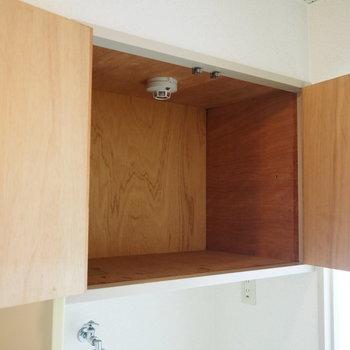 洗濯機置場の上部に収納スペースがあります。洗剤などを置けますね◯(※写真は7階の同間取り別部屋のものです)