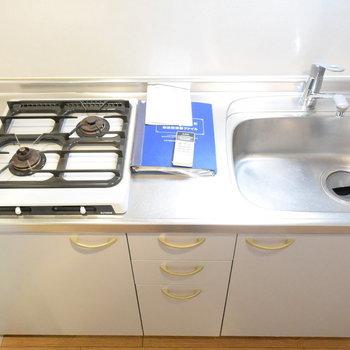 シンプルなキッチンですが、作業スペースもありますね(※写真は2階の反転間取り別部屋のものです)
