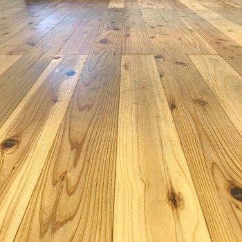 杉の無垢床が心地よい。
