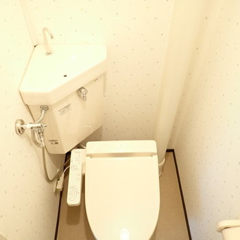 どことなくクラシックさも感じるトイレ。