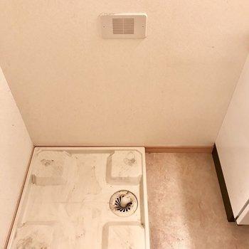 お隣には洗濯パンも!細めの収納ケースも置けそう。(※写真は2階の同間取り角部屋のものです)