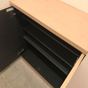 シューズBOXはちょっと小さめ。(※写真は2階の同間取り角部屋のものです)