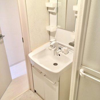 サニタリースペースはコンパクト。洗面台はシングルレバー!(※写真は清掃前のものです)