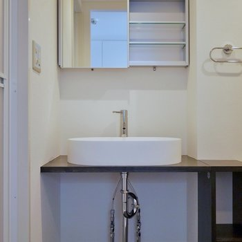 新設された造作の洗面台※写真は同タイプ別部屋