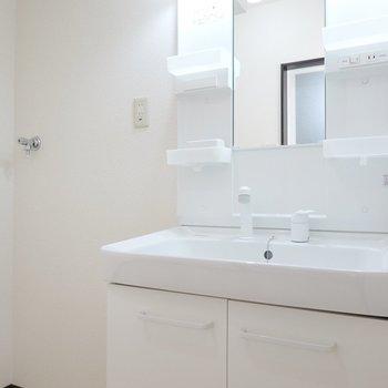 キッチン後ろのドアから脱衣所へ。清潔で使いやすそうな洗面台です。