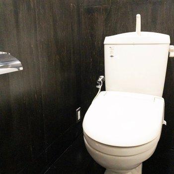 黒に囲まれたトイレ。