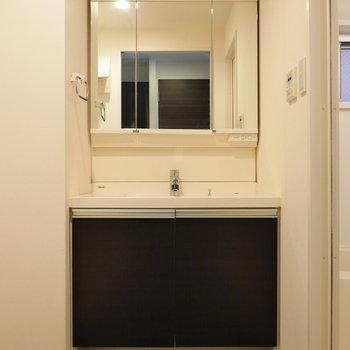 左のドアを開いて、脱衣所。 洗面台あります。(※写真は8階同間取り別部屋のものです)