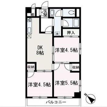 DKがちょっぴり広めの3DKのお部屋です。