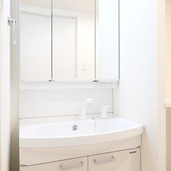 洗面台はトイレ左手!鏡が大きくて、身だしなみも整えやすそう。