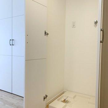 洗濯機置場は水回り向かいの扉の中。