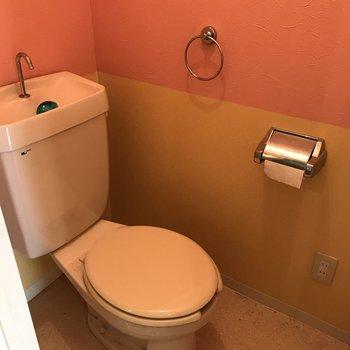 おトイレはなんだかラテン系※写真は清掃前のものです