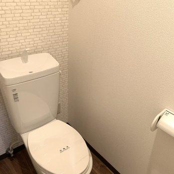 清潔感があるトイレはウォッシュレットはついていません…。