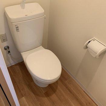 清潔感があるトイレはウォッシュレットがついてないシンプルさ。