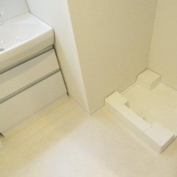 脱衣所には洗面台と洗濯機置き場が※写真は同間取り別部屋のものです。