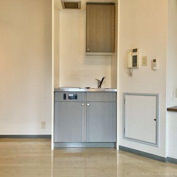 キッチンスペース。冷蔵庫は左手にどうぞ 。