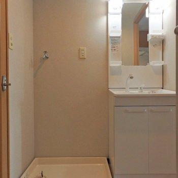 洗濯機は脱衣所に置けます。(※写真は5階の同間取り別部屋のものです)