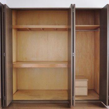 どんと収納スペース確保(※写真は8階の同間取り別部屋のものです)