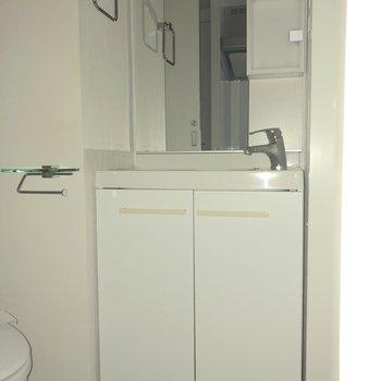 洗面台は歯ブラシホルダーなどを入れられそうな部分があるタイプです。※写真は通電前のものです