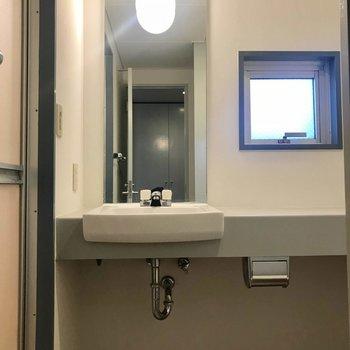 洗面はシンプル。テーブルのように長い台があるのが何かと便利!(※写真は4階の同間取り別部屋のものです)
