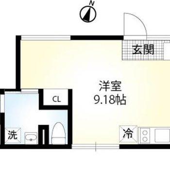 2面採光の1Rのお部屋です。
