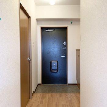 玄関を正面に左側のドアが6帖の洋室、右手の少し折れた部分におトイレ。(※写真はクリーニング前です)