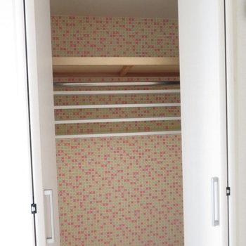 クローゼットの中がおもしろ柄※写真は8階同間取り・別部屋のものです。