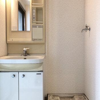 ぐるっと振り帰ると洗面台と洗濯機が隣り合わせに。※クリーニング前のものになります