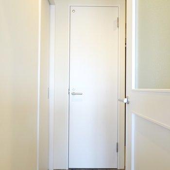 奥がトイレ、左がお風呂と脱衣所、右が玄関と収納です。